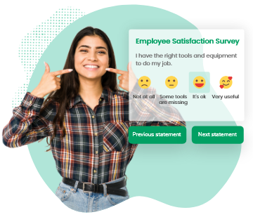 happy person filling an employee satisfaction survey