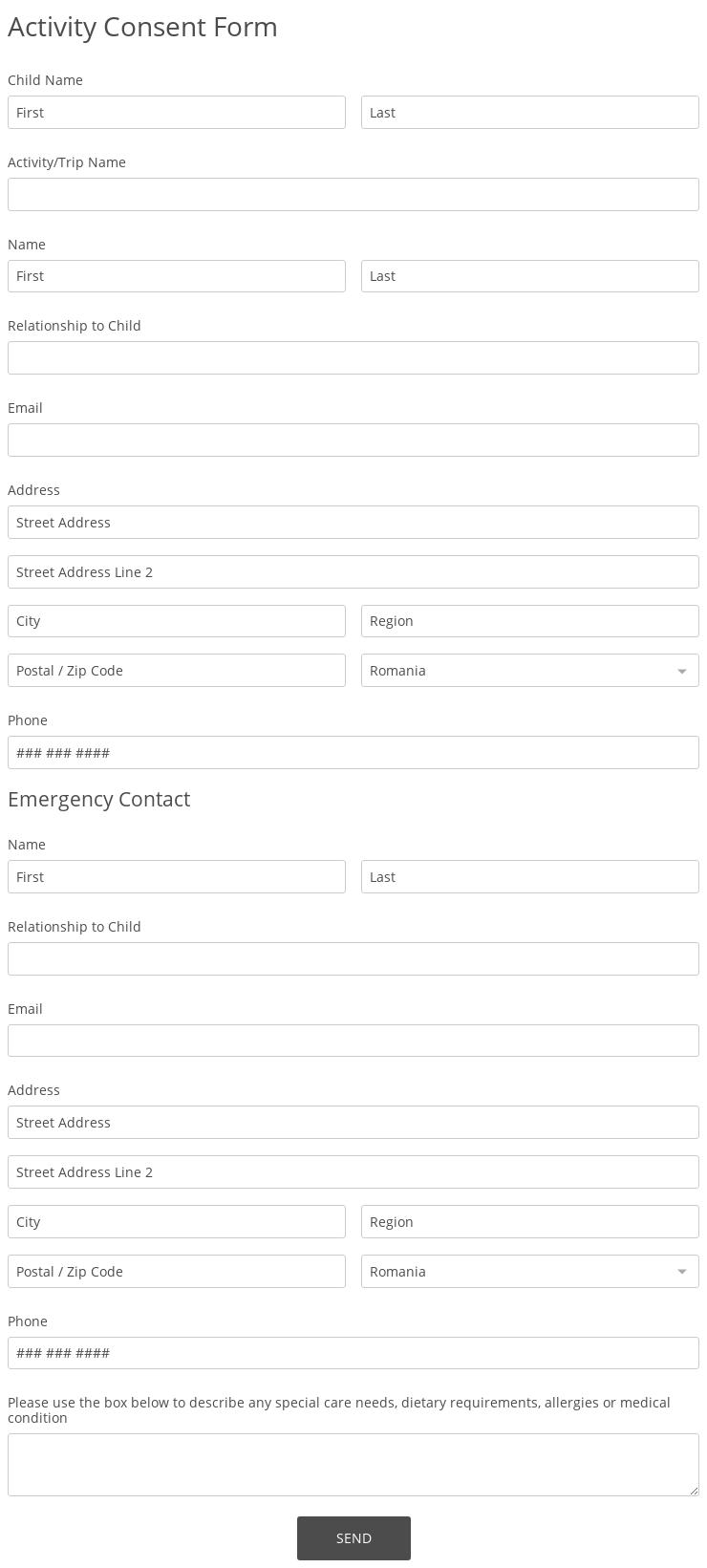 Activity Consent Form