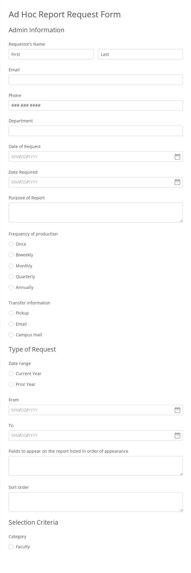 Ad Hoc Report Request Form