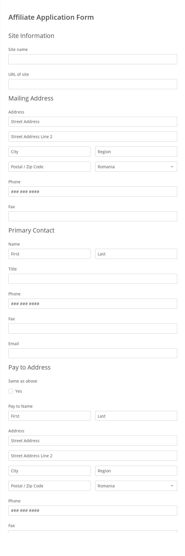 Affiliate Application Form