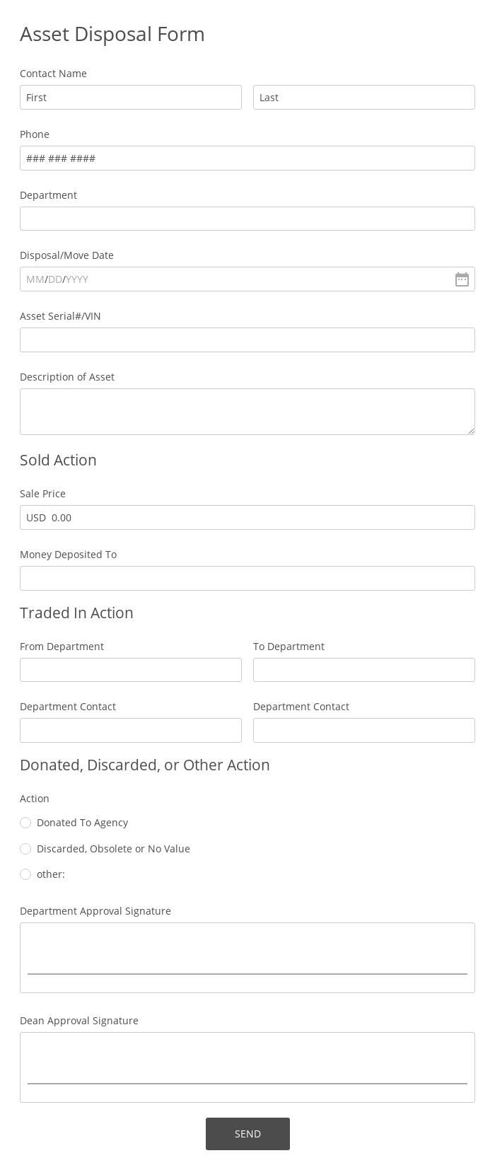 Asset Disposal Form