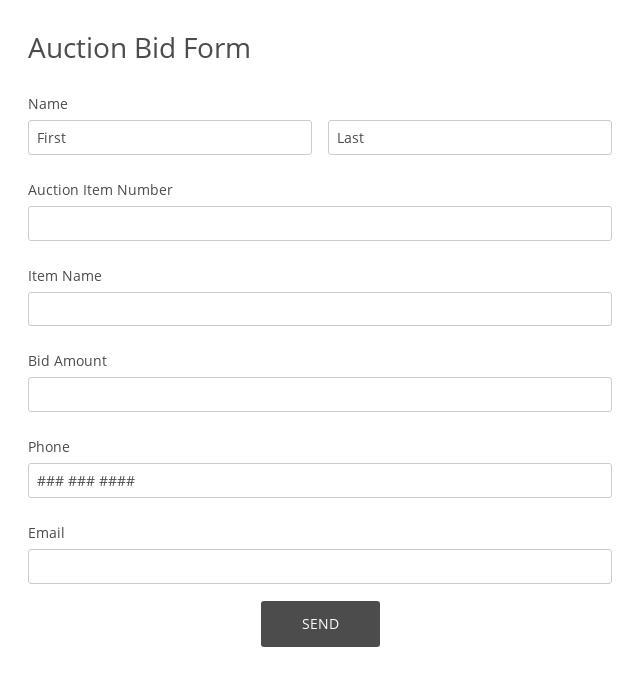 Auction Bid Form