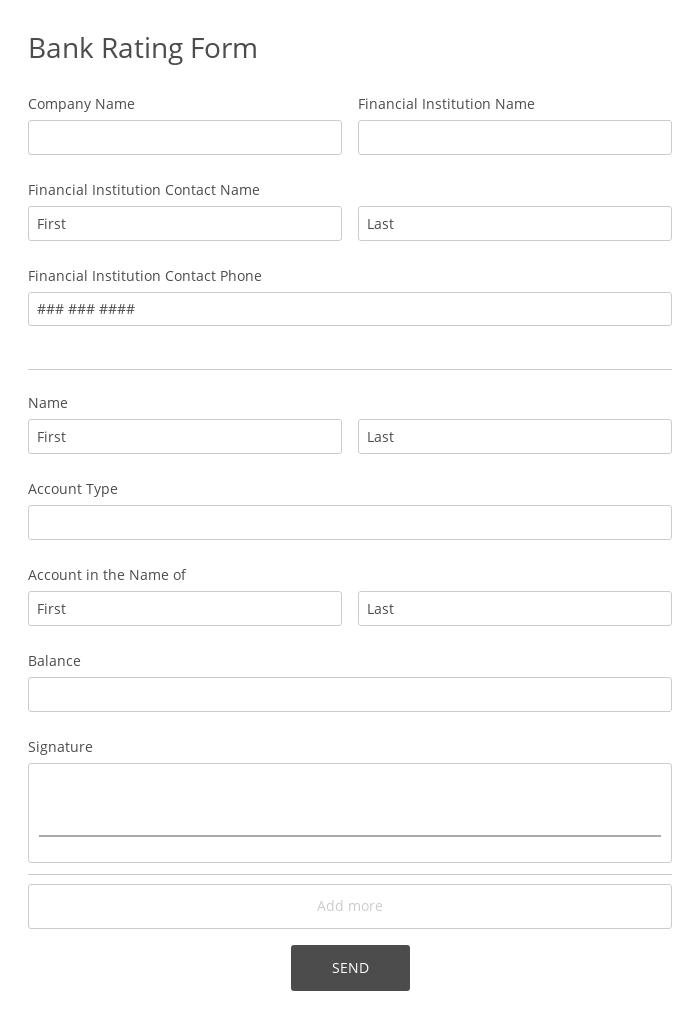 Bank Rating Form
