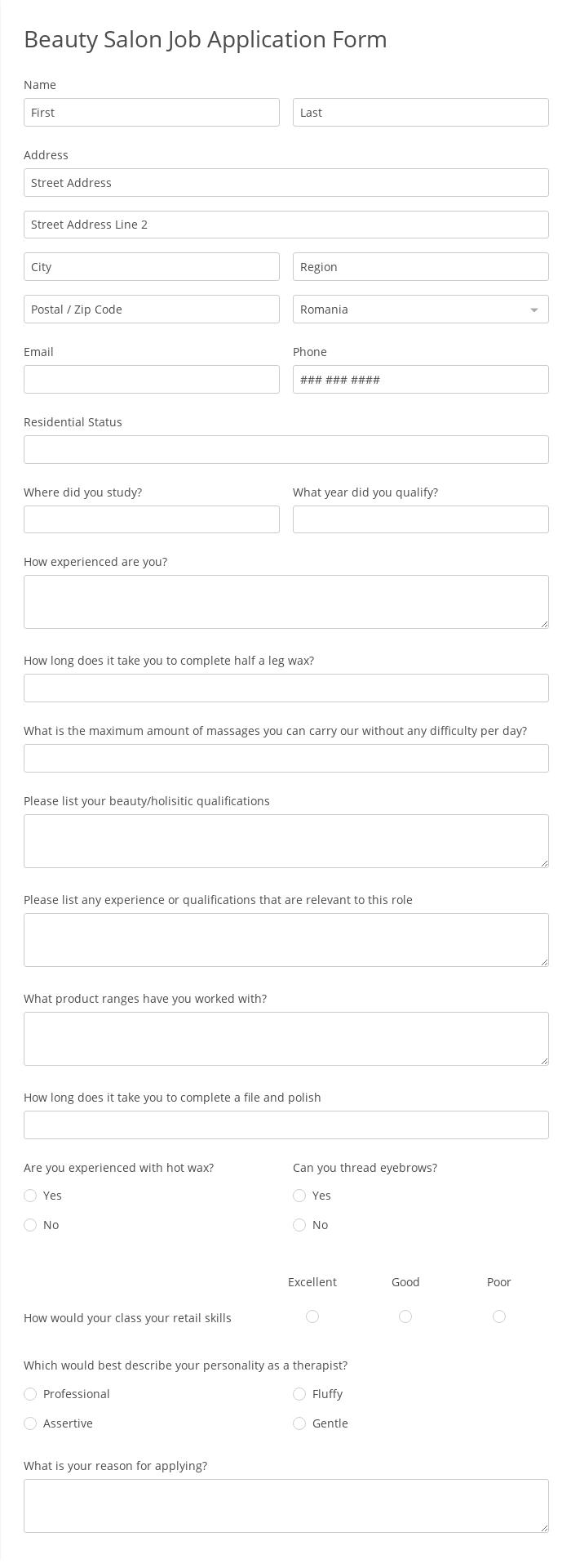 Beauty Salon Job Application Form