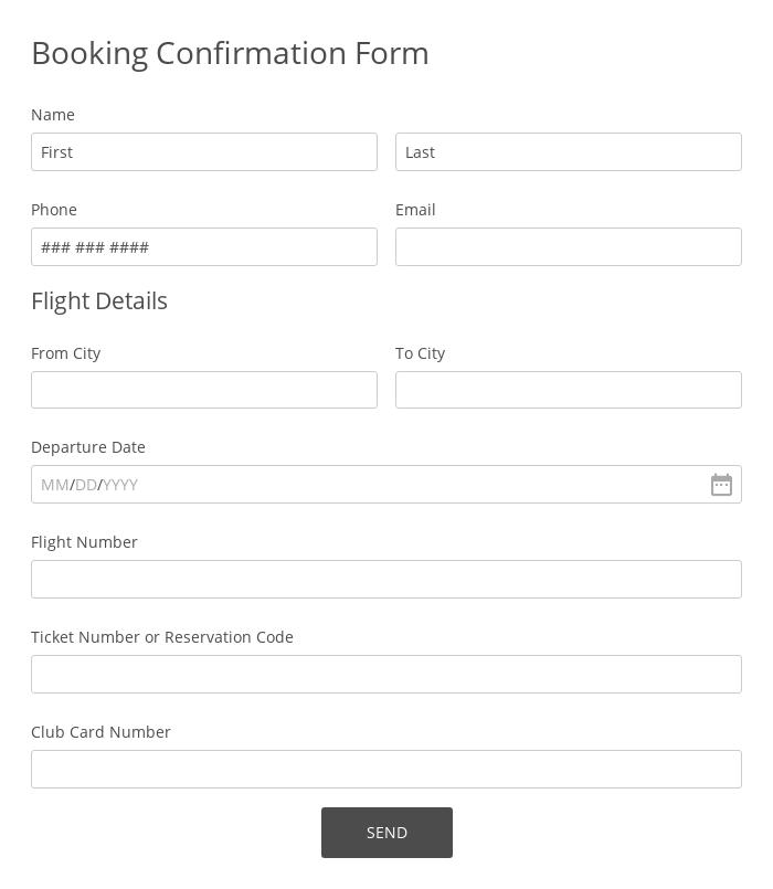 Booking Confirmation Form