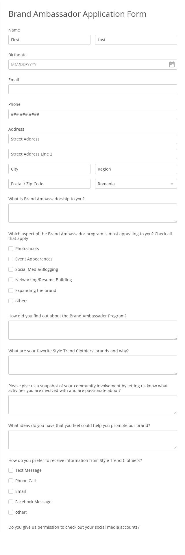 Brand Ambassador Application Form