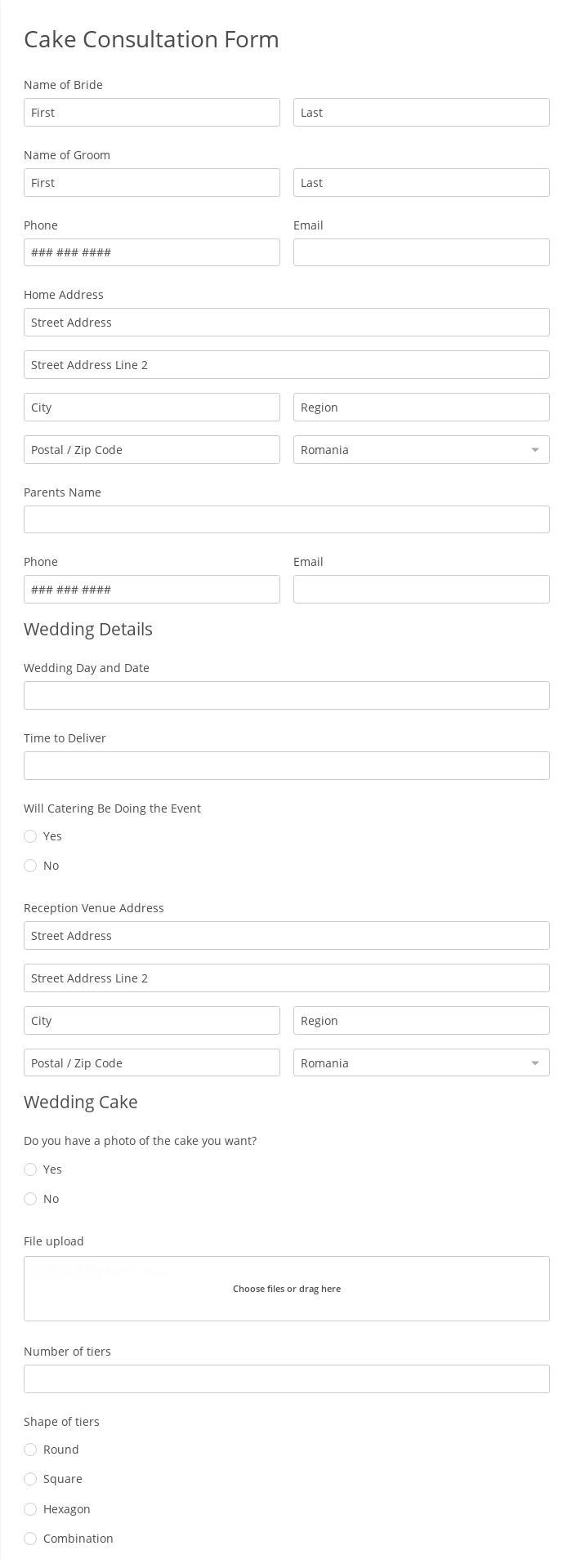 Cake Consultation Form