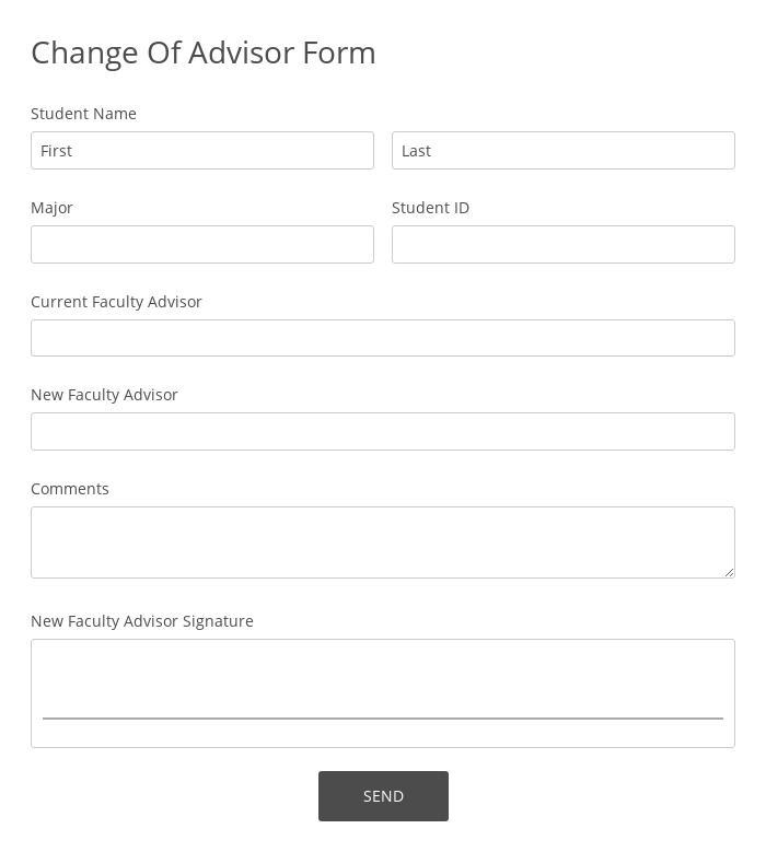 Change Of Advisor Form