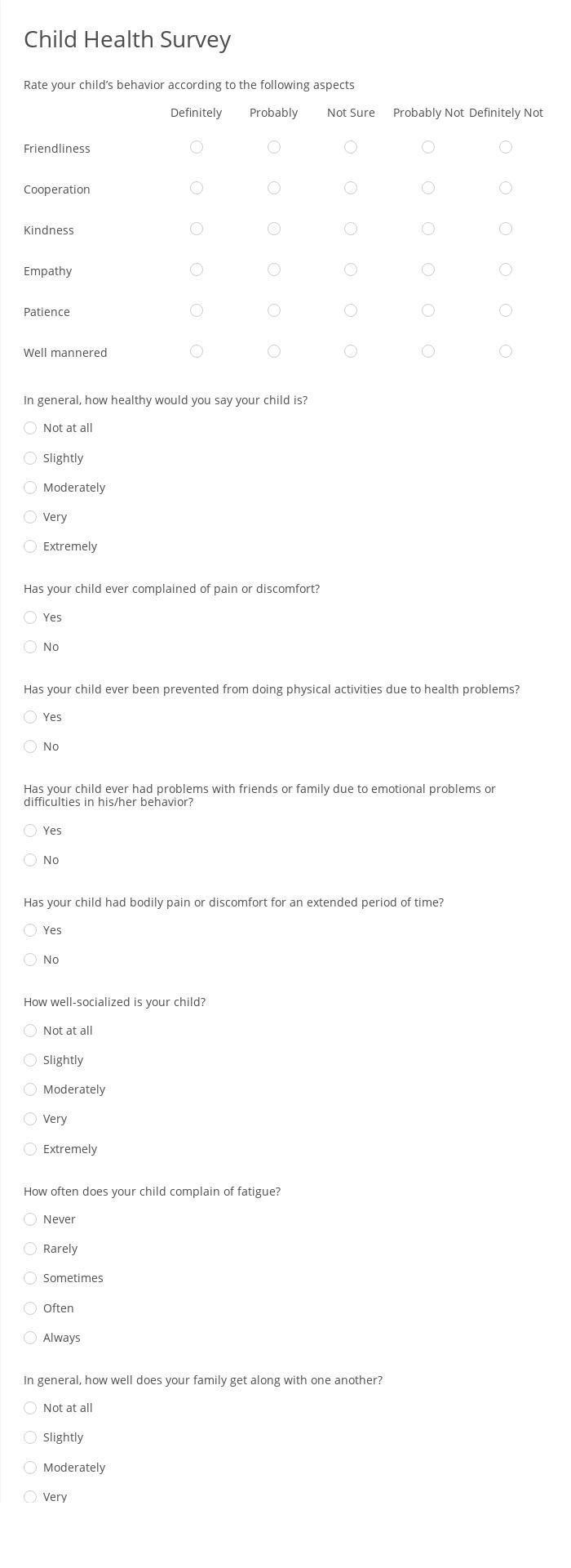 Child Health Survey