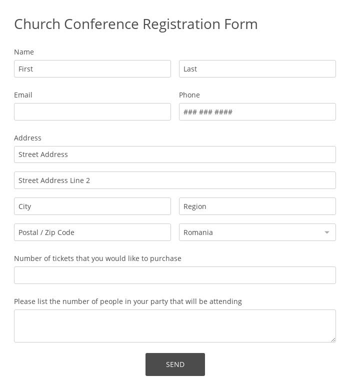 Church Conference Registration Form