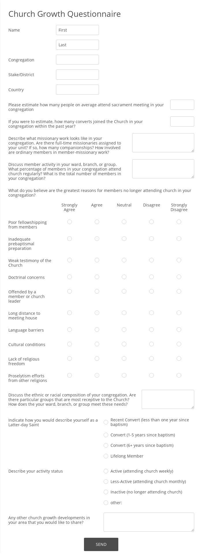 Church Growth Questionnaire