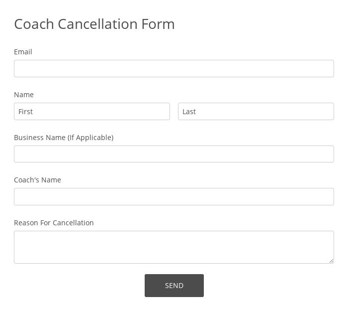Coach Cancellation Form
