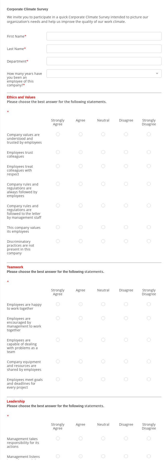 Corporate Climate Survey