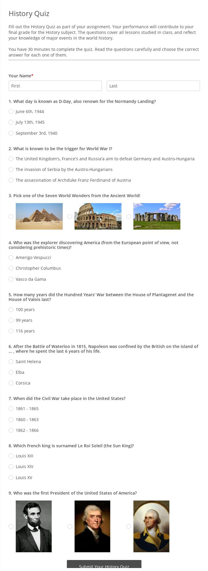 Cuestionario de Historia