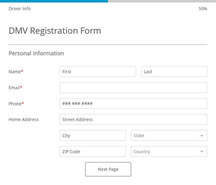 DMV Registration Form