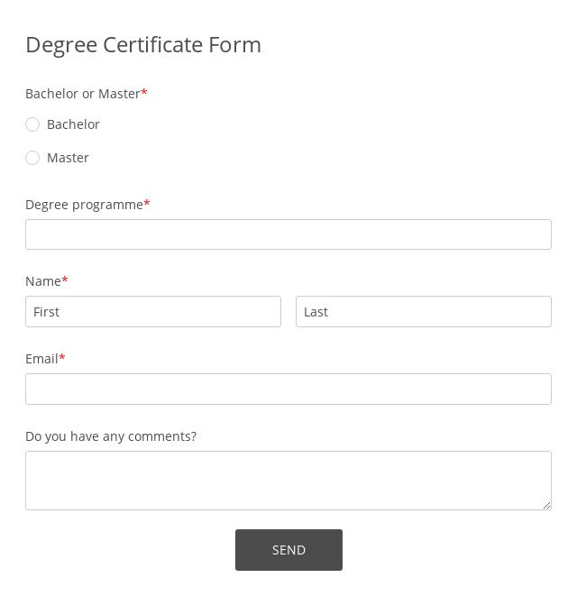 Degree Certificate Form