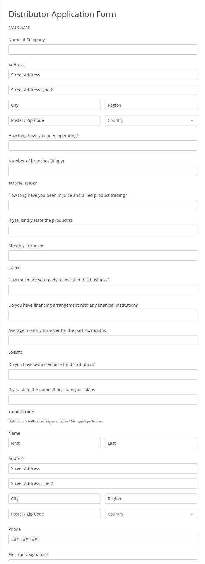 Distributor Application Form