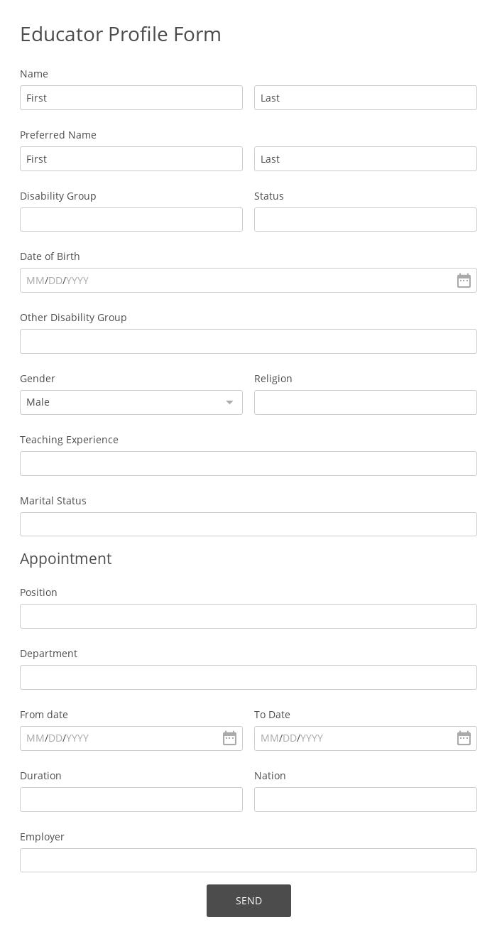 Educator Profile Form
