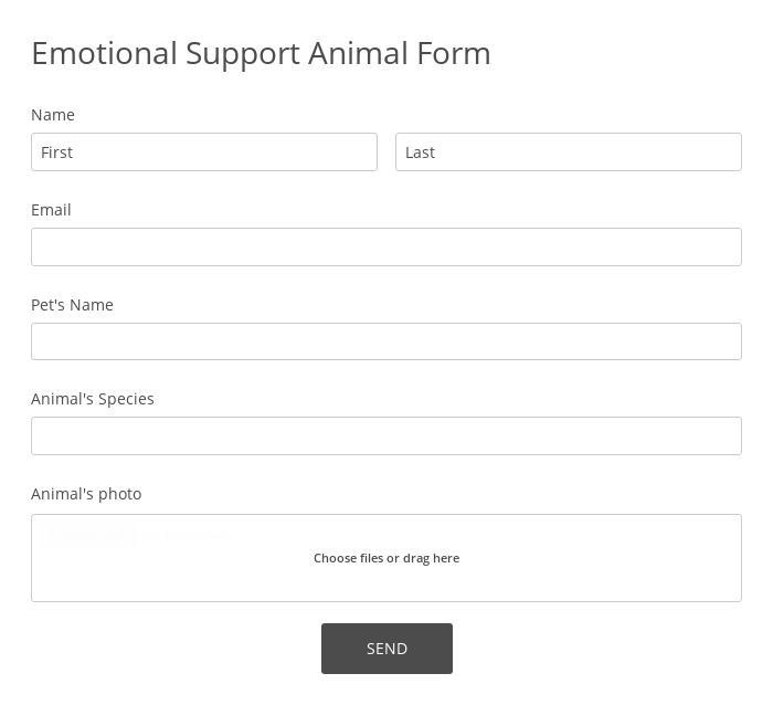 Emotional Support Animal Form