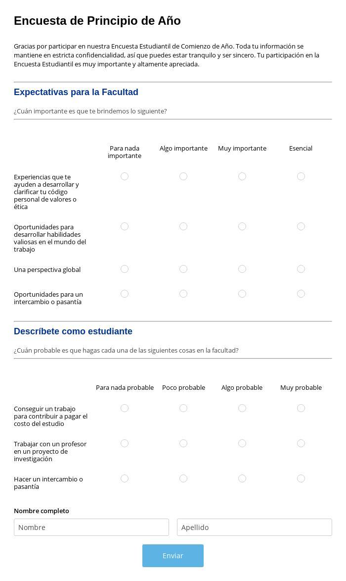 Encuesta Estudiantil de Principio de Año
