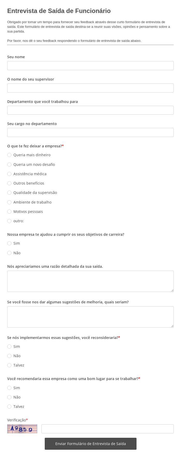 Entrevista de Saída de Funcionário