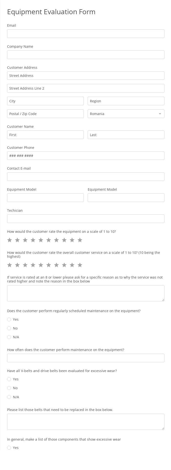 Equipment Evaluation Form