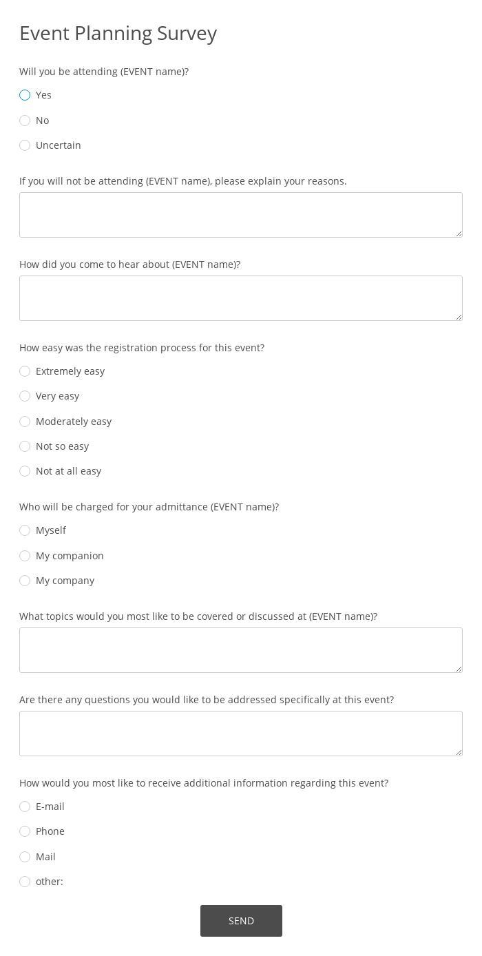 Event Planning Survey