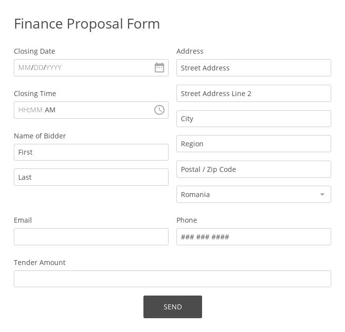 Finance Proposal Form