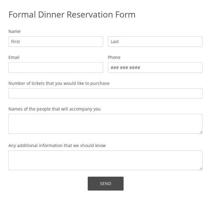 Formal Dinner Reservation Form