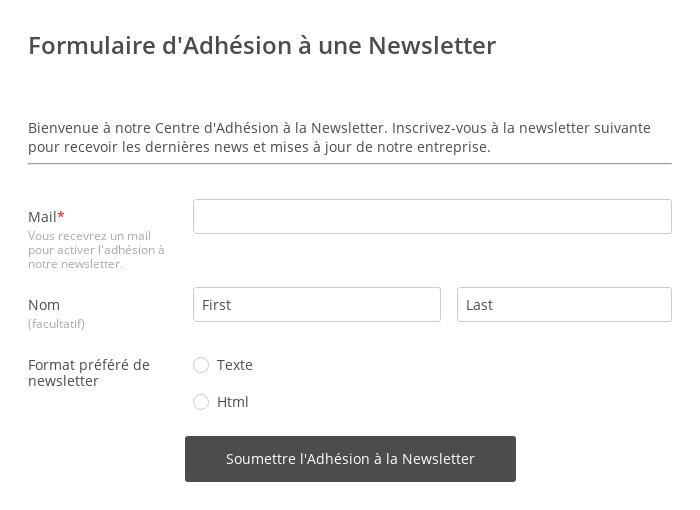 Formulaire d'Adhésion à une Newsletter
