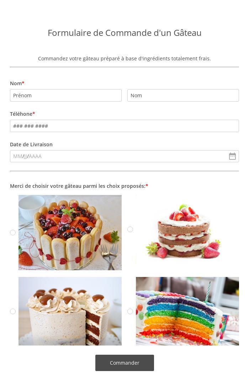 Formulaire de Commande d'un Cake