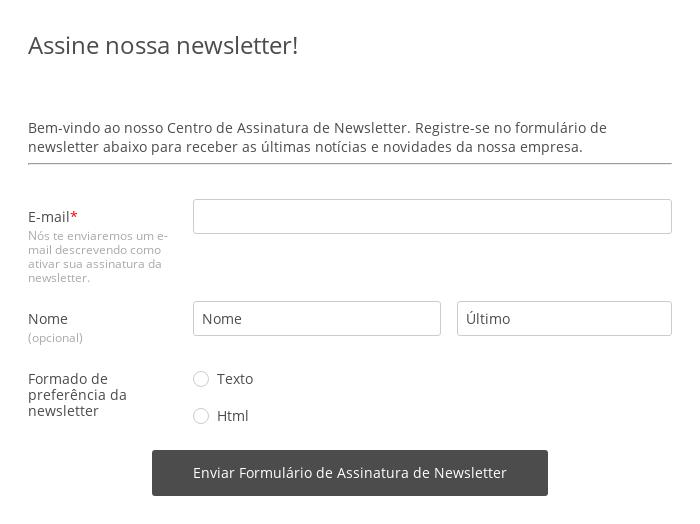 Formulário de Assinatura de Newsletter