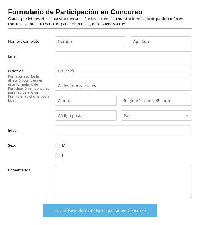 Formulario de Participación en Concurso