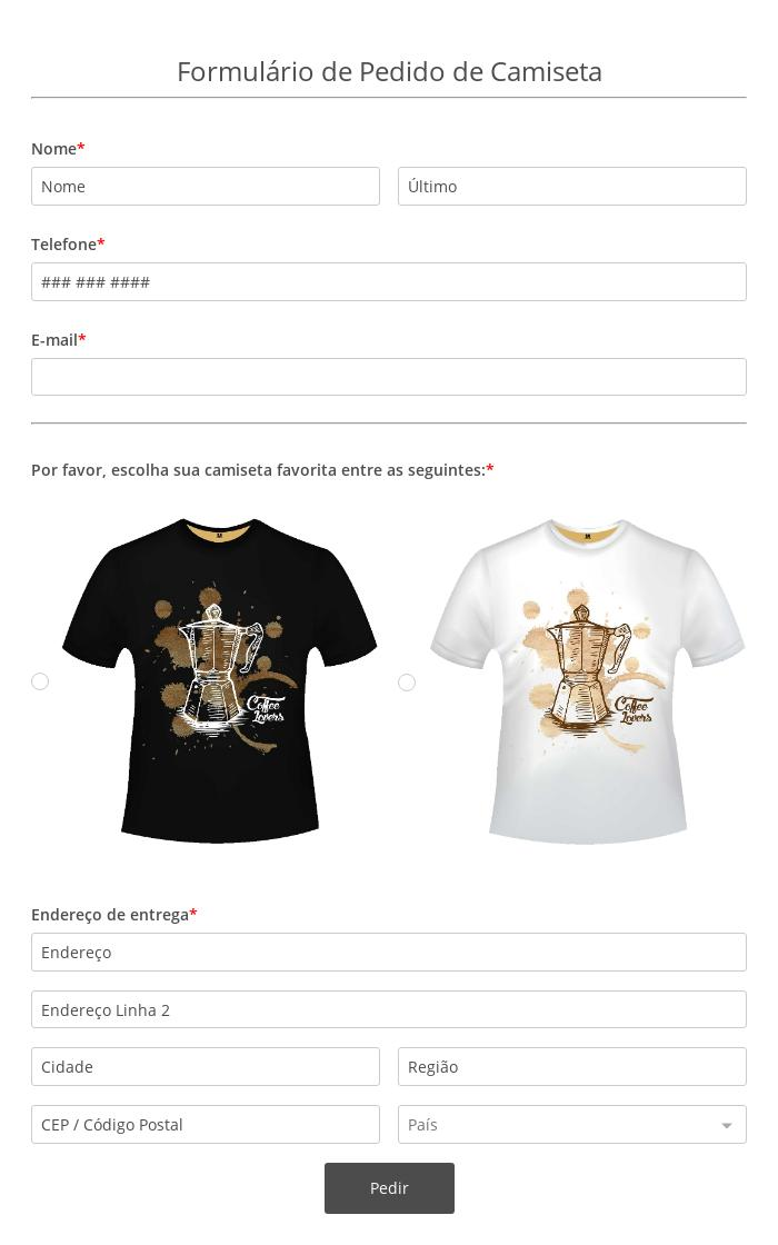 Formulário de Pedido de Camiseta