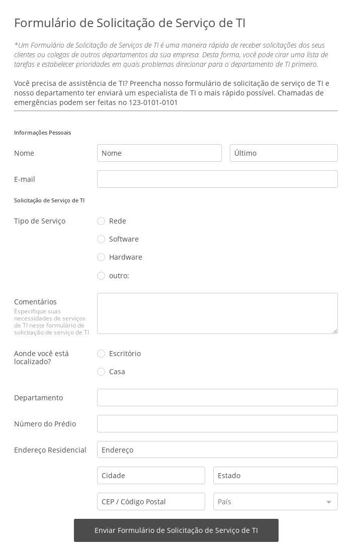 Formulário de Solicitação de Serviços de TI