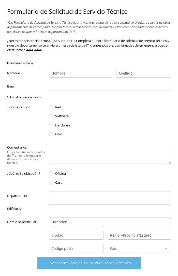 Formulario de Solicitud de Servicio Técnico