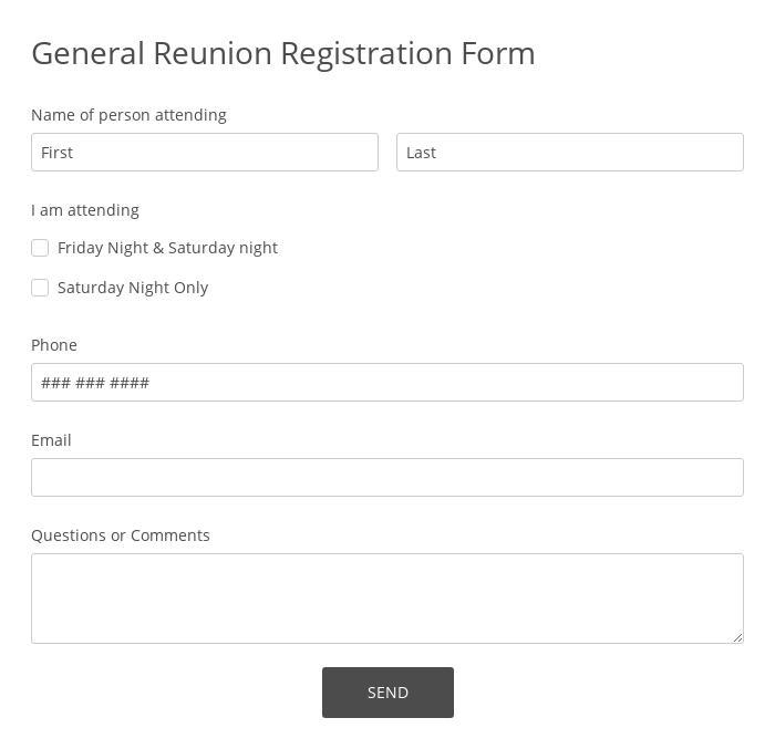 General Reunion Registration Form