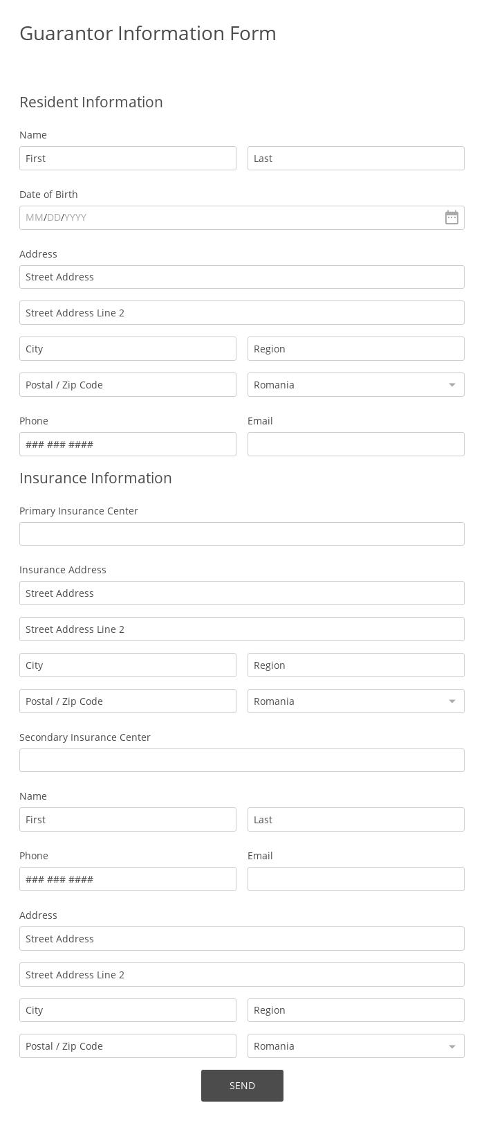 Guarantor Information Form
