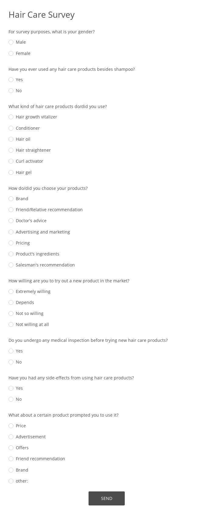 Hair Care Survey
