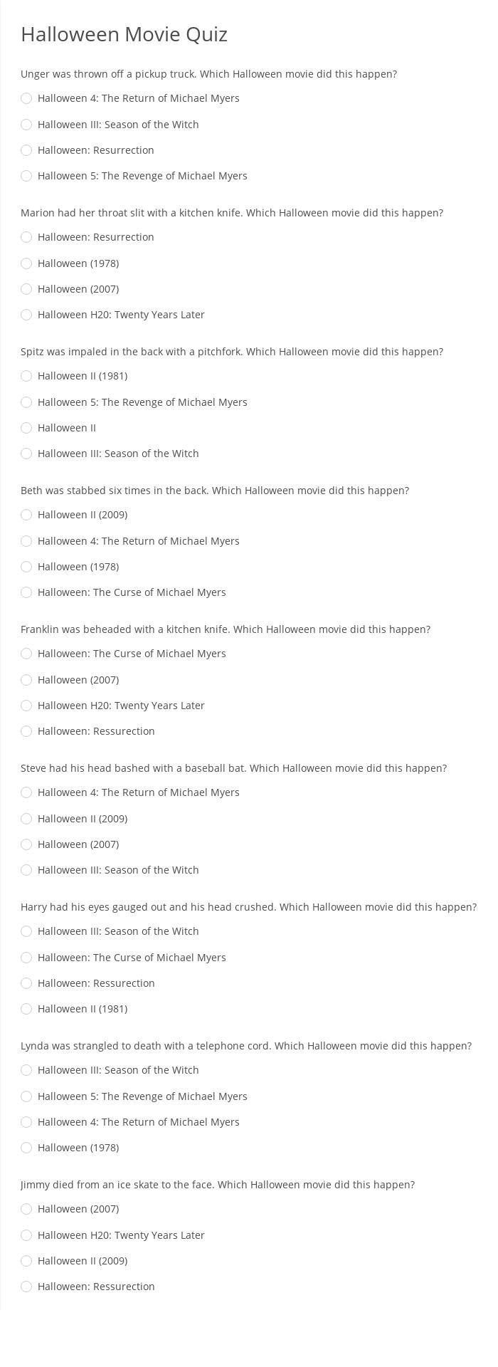 Halloween Movie Quiz