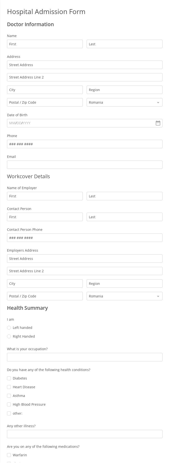 Hospital Admission Form