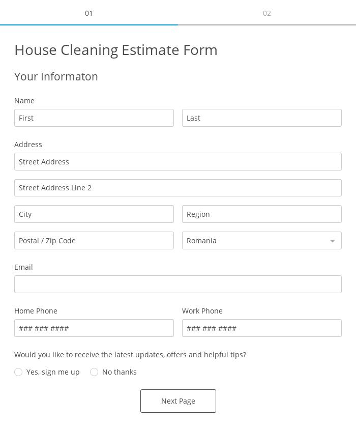 House Cleaning Estimate Form