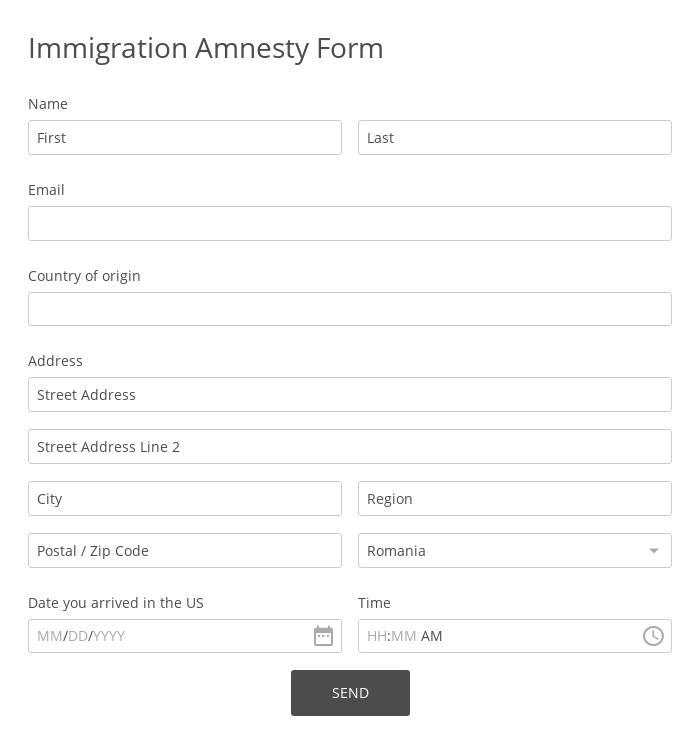 Immigration Amnesty Form
