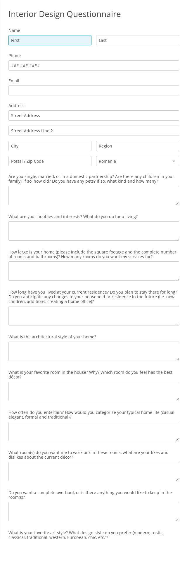 Interior Design Questionnaire