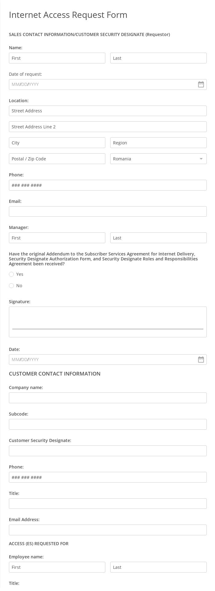 Internet Access Request Form