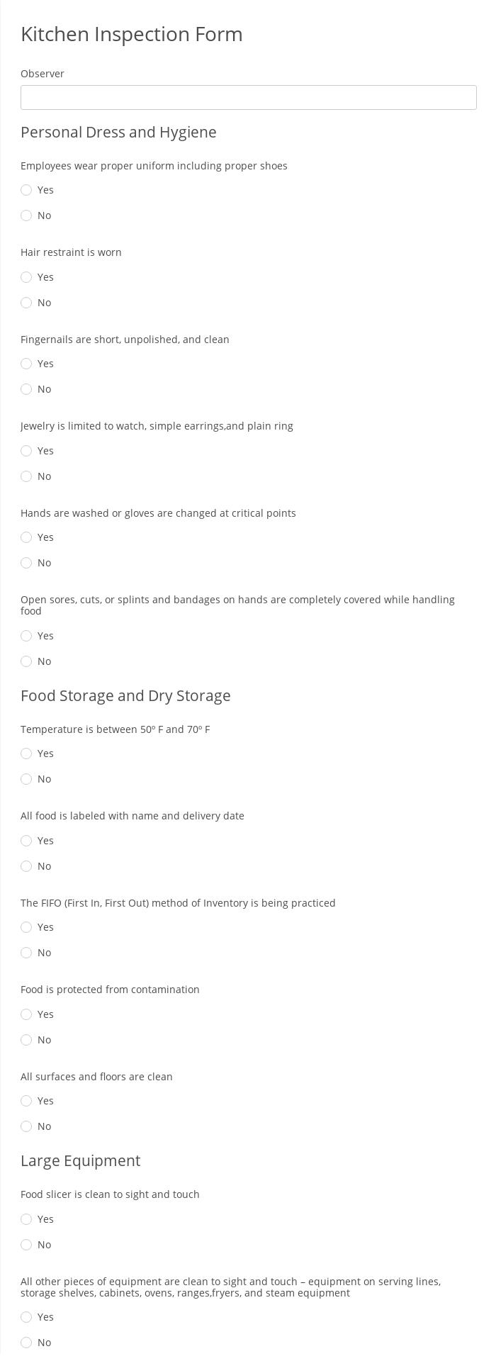Kitchen Inspection Form