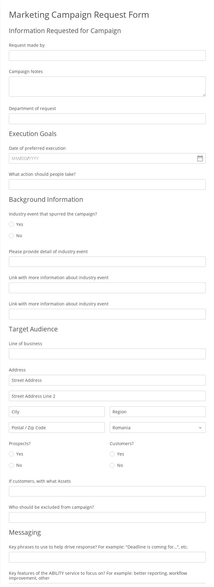 Marketing Campaign Request Form