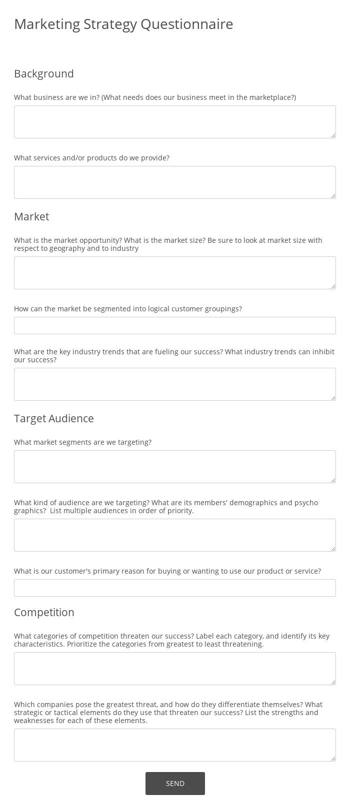 Marketing Strategy Questionnaire