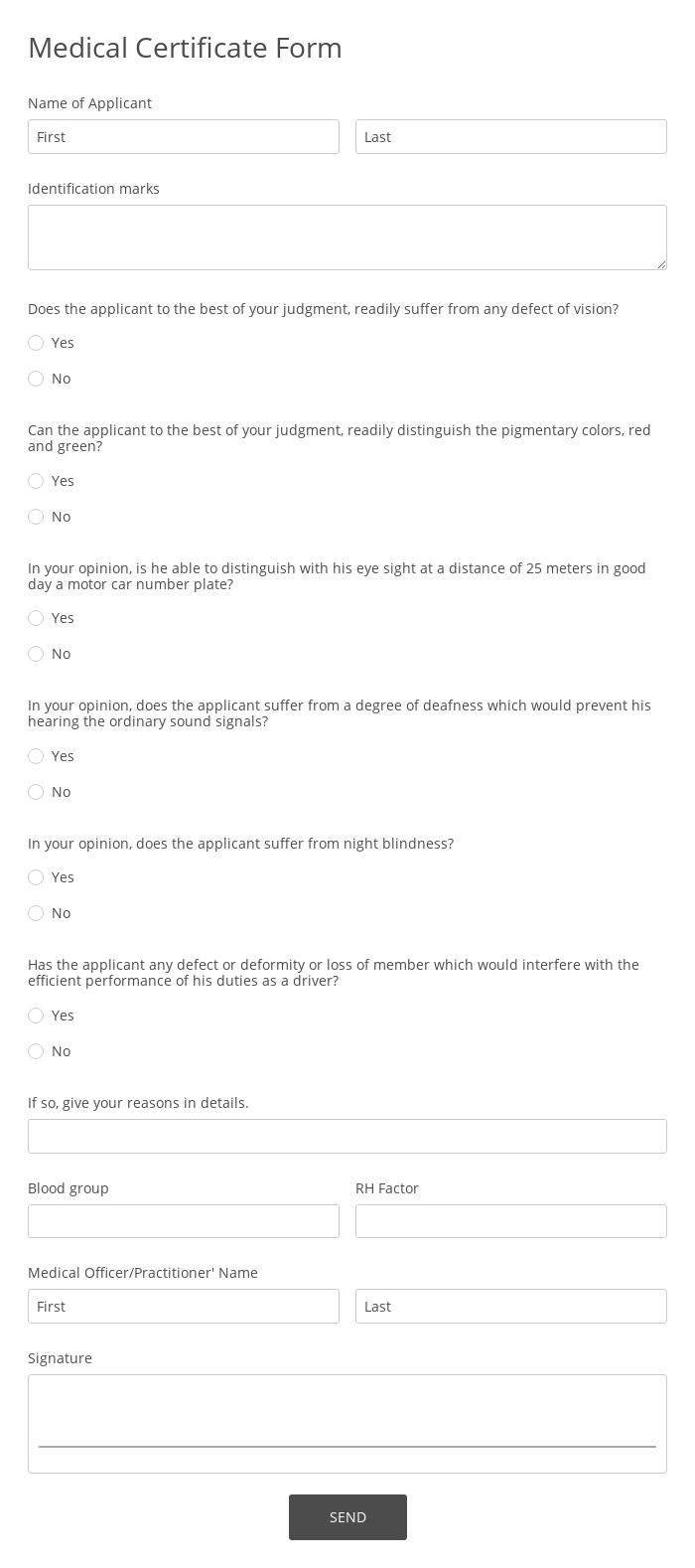 Medical Certificate Form