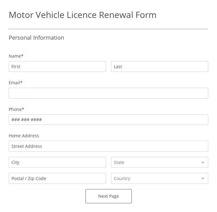 Motor Vehicle License Renewal Form
